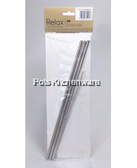3pcs Reusable Stainless Steel Straw (26.5cm Straight) + 1pc Brush - D2002-90