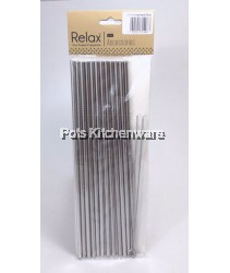 12pcs Reusable Stainless Steel Straw (26.5cm Straight) + 1 brush - D2002-91