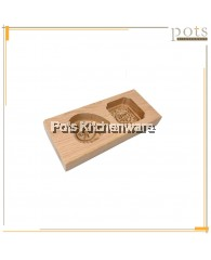 2 Holes Wooden Kuih Mould - BB427