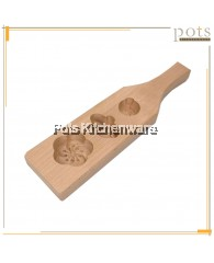 3 Holes Blossom Wooden Kuih Mould - BB428
