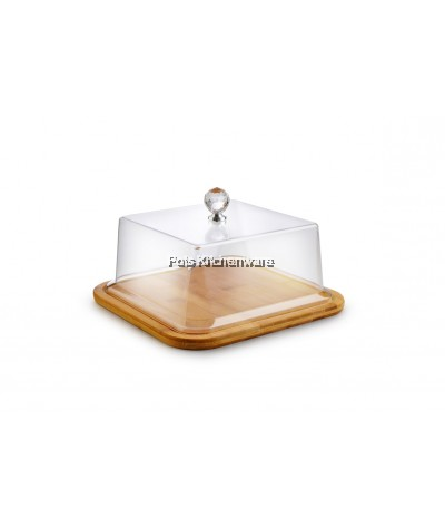 34.5cm Wooden Cake Plate with Acrylic Cover - B4152