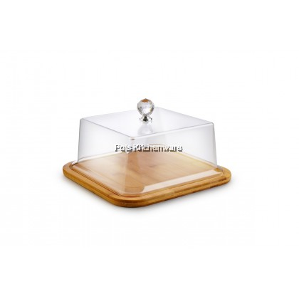 Wooden Cake Plate with Acrylic Cover (28cm / 34.5cm) - B4150
