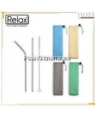 Relax 3pc Portable Drinkware Stainless Steel Straw and Brush Set - F0037