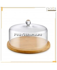 34cm wooden Round Cake Plate with Acrylic Cover - B4132