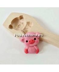 Piglet Shape Wooden Kuih Mould - BB28