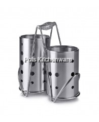 2pc Set Stainless Steel Cutlery Holder with Handle - B6842