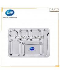 Toffi 6 Compartments Stainless Steel Fast Food Tray - B6008