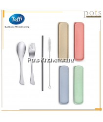 Toffi 4-pc Portable Stainless Steel Flatware Cutlery Utensils Set with Storage Container Box (Spoon + Fork + Straw + Brush) - F0023